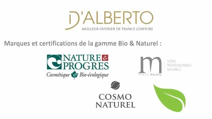 Produits naturel et bio salon de coiffure D'alberto